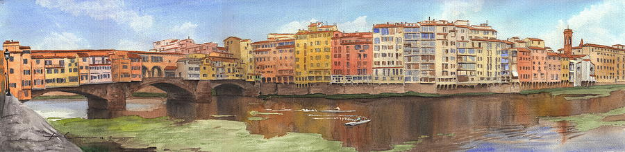 Ponte Vecchio Watercolor Portrait Drawing by Mike Theuer