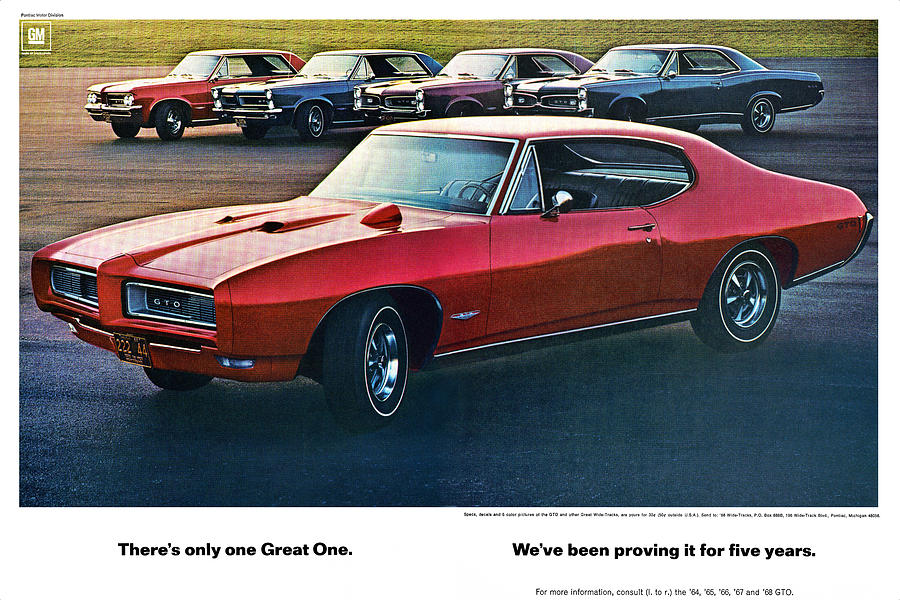 1968 Digital Art - Pontiac Gto - 1964 1965 1966 1967 1968 by Digital Repro Depot