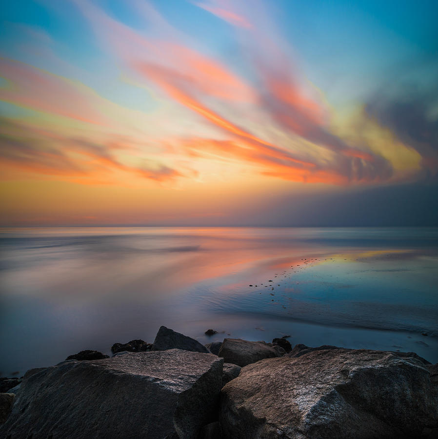 Jetty Photograph - Ponto Jetty Sunset - Square by Larry Marshall