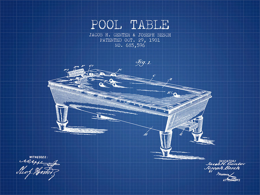 Pool Table Patent From Blueprint Digital Art By Aged Pixel - Pool table blueprints
