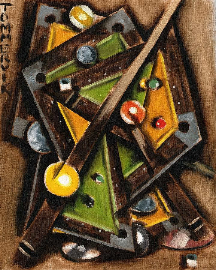 Tommervik Abstract Cubism Pool Table Art Print Painting By Tommervik - Pool table painting