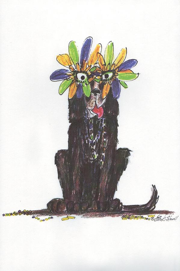 Dogs Painting - Poor Jack At Mardi Gras by Ellen Howell
