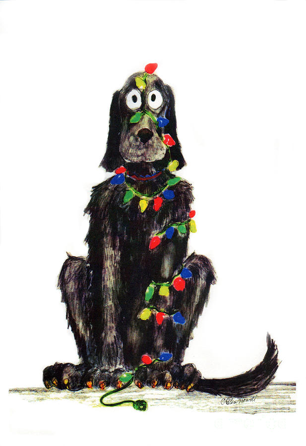 Dogs Painting - Poor Jack Christmas Lights by Ellen Howell