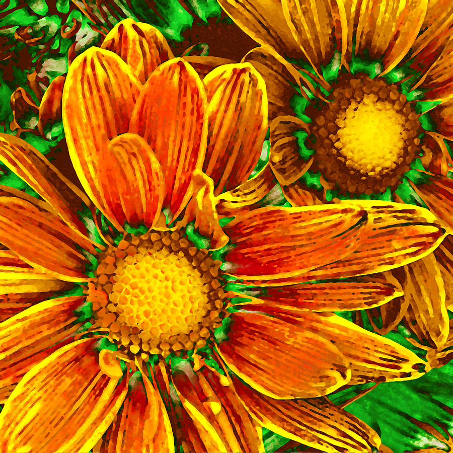 Abstract Painting - Pop Art Daisies 8 by Amy Vangsgard