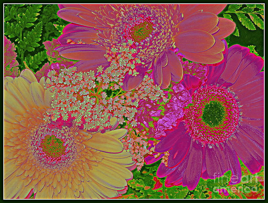 Pop Art Daisies - Pop Art - Daisies - Nature - Flowers - Blossoms - Pink Flowers - Pink Blossoms - Pop Art Designs - Spring Flowers - Summer Flowers Photograph - Pop Art Daisies by Dora Sofia Caputo Photographic Art and Design