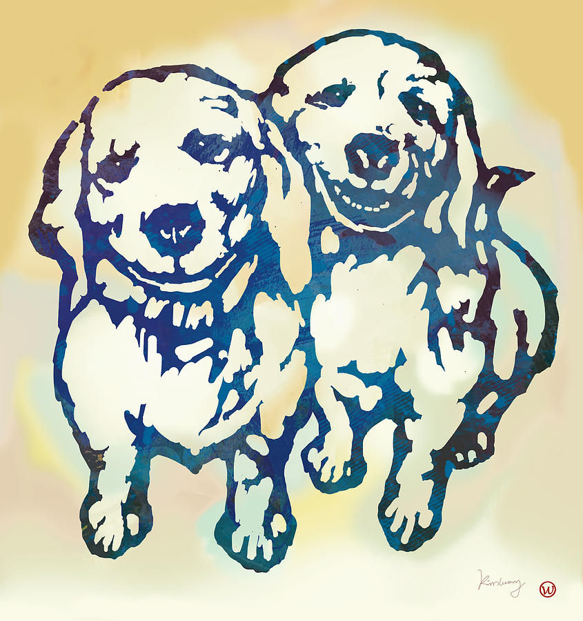 Portraits Drawing - Pop Art Etching Poster - Dog - 10 by Kim Wang