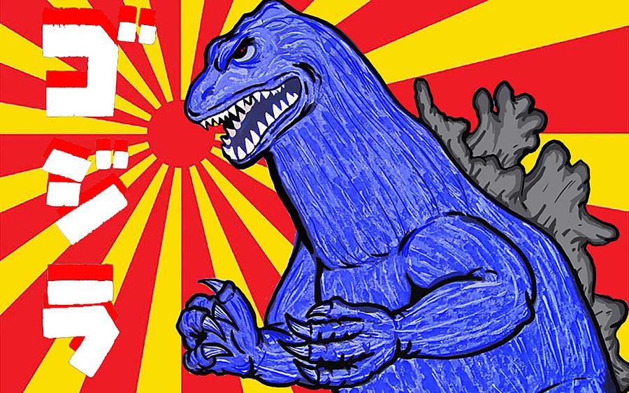 Monster Painting - Pop Art Godzilla by Gary Niles