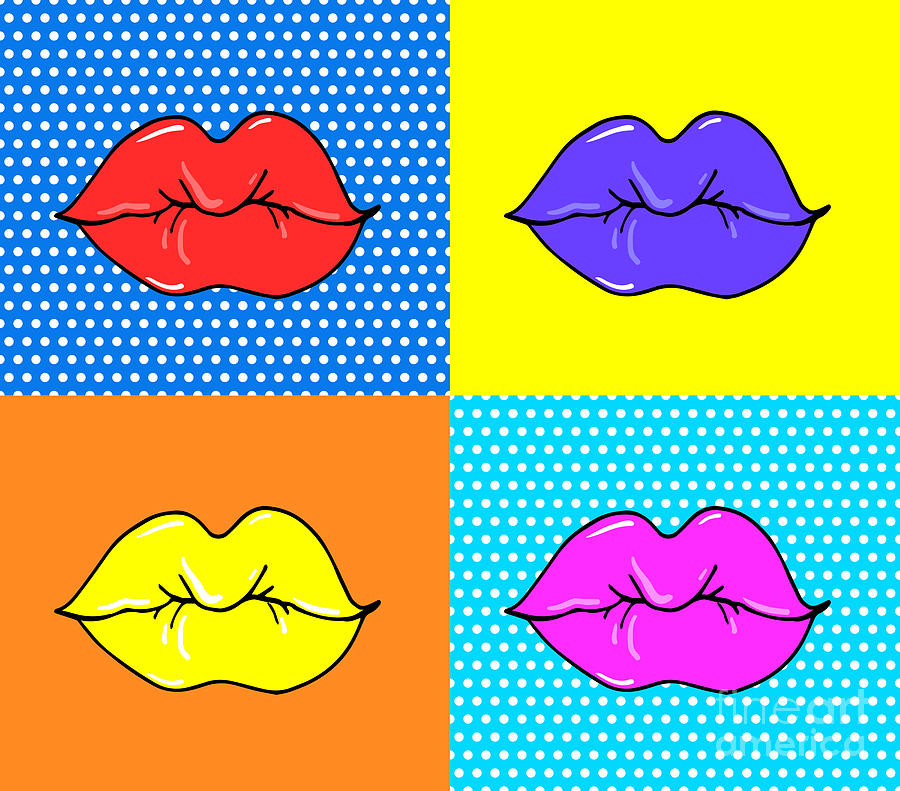 Makeup Digital Art - Pop Art Lips. Warhol Style Poster. Dot by Oksanka007