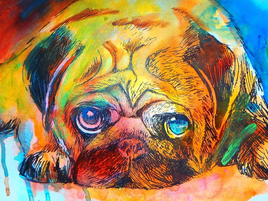 Pop art pug painting by emma kaufmann for App that makes pictures look like paintings