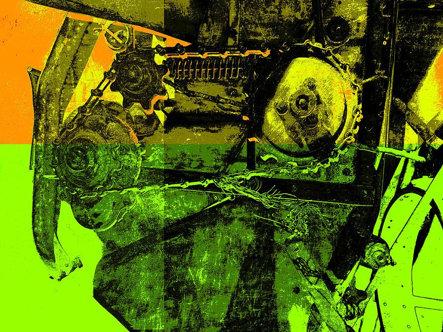 Machinery Digital Art - Pop Art Style Machine Gears by Ann Powell