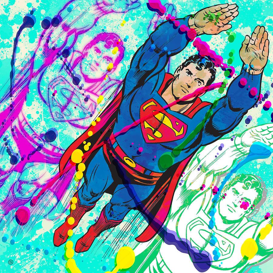 Digital Painting - Pop Art Superman by Gary Grayson