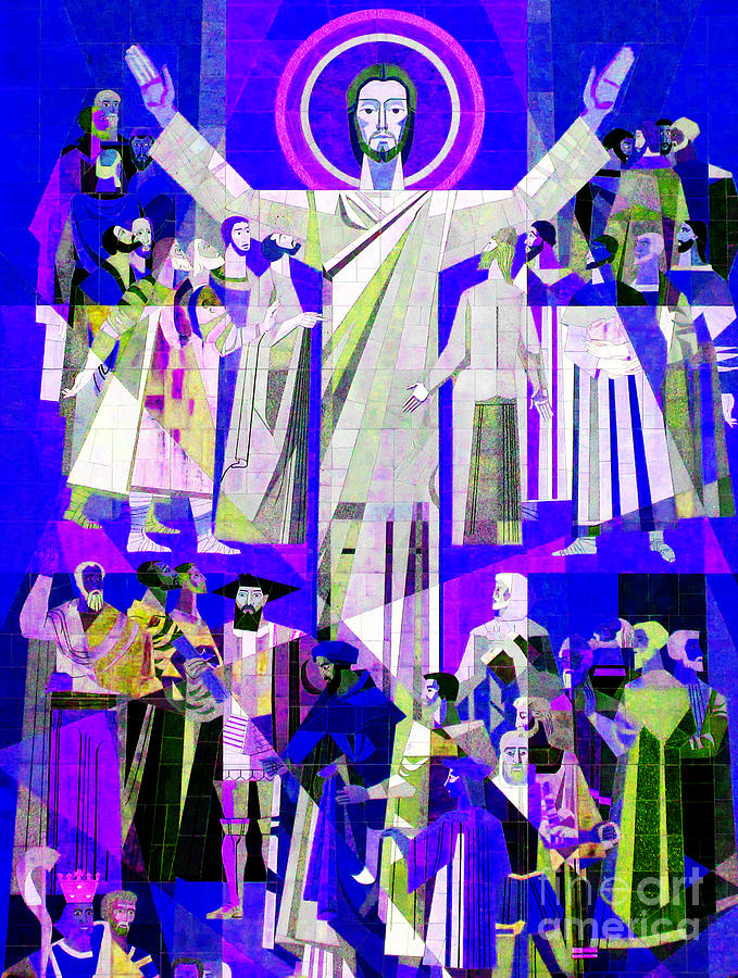 Mural Photograph - Pop Art Touchdown Jesus Mural At N D U Main Library by Tina M Wenger