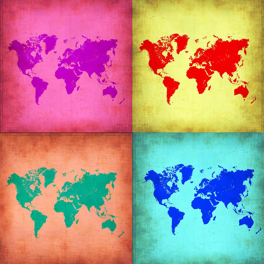 World Map Painting - Pop Art World Map 1 by Naxart Studio