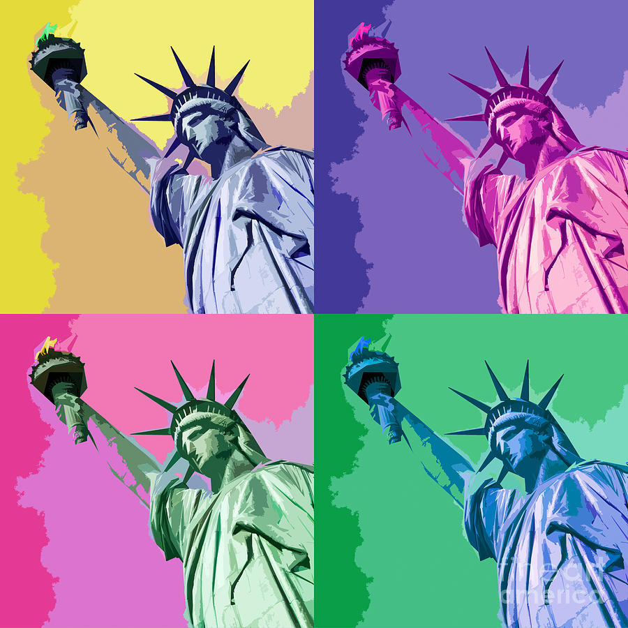 Statue Of Liberty Digital Art - Pop Liberty by Delphimages Photo Creations