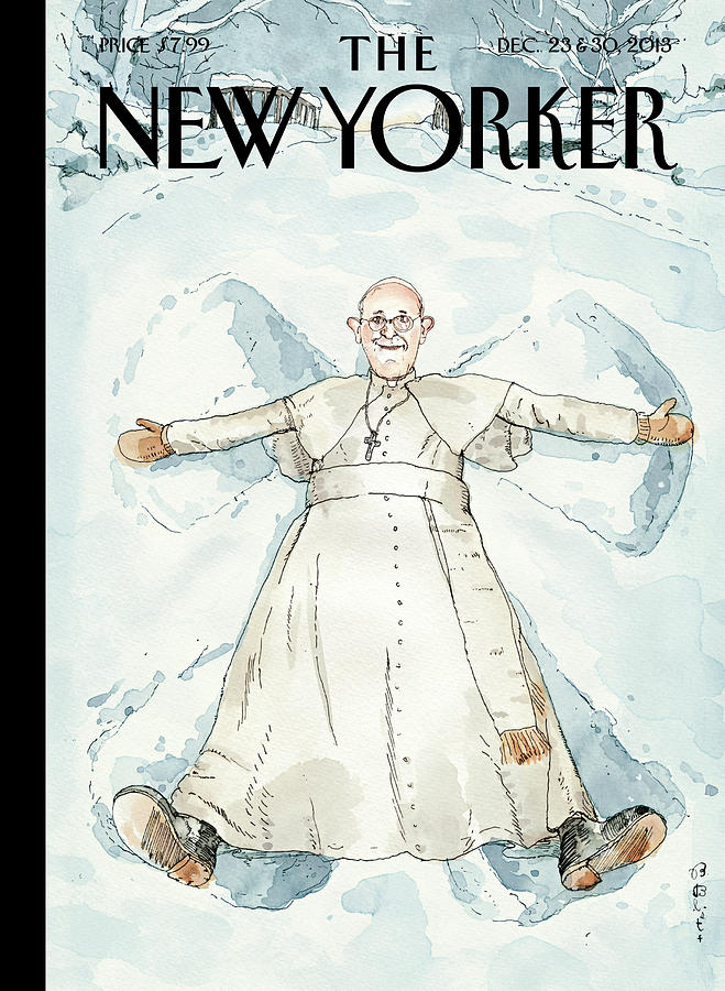 Pope Francis Makes A Snow Angel Painting by Barry Blitt