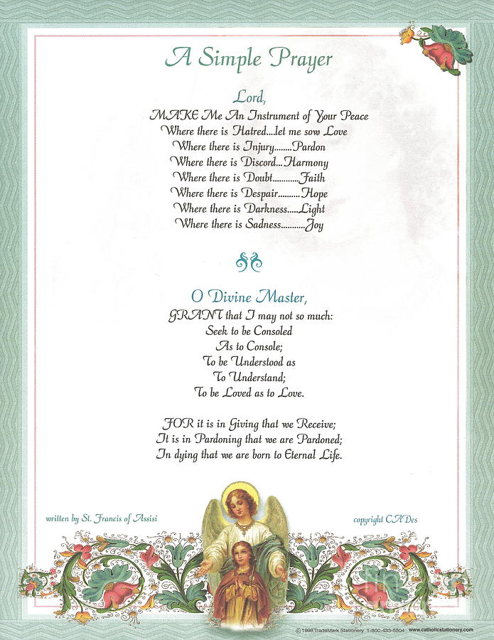 St. Francis Mixed Media - Pope Francis St. Francis Simple Prayer Florentine Angel by Desiderata Gallery