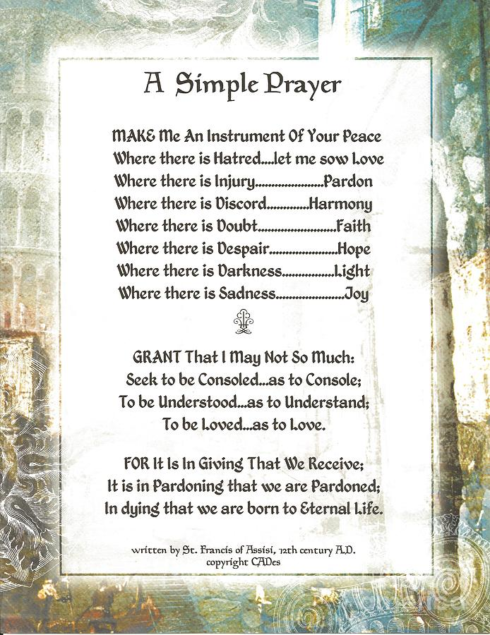 St. Francis Mixed Media - Pope Francis St. Francis Simple Prayer For Peace by Desiderata Gallery
