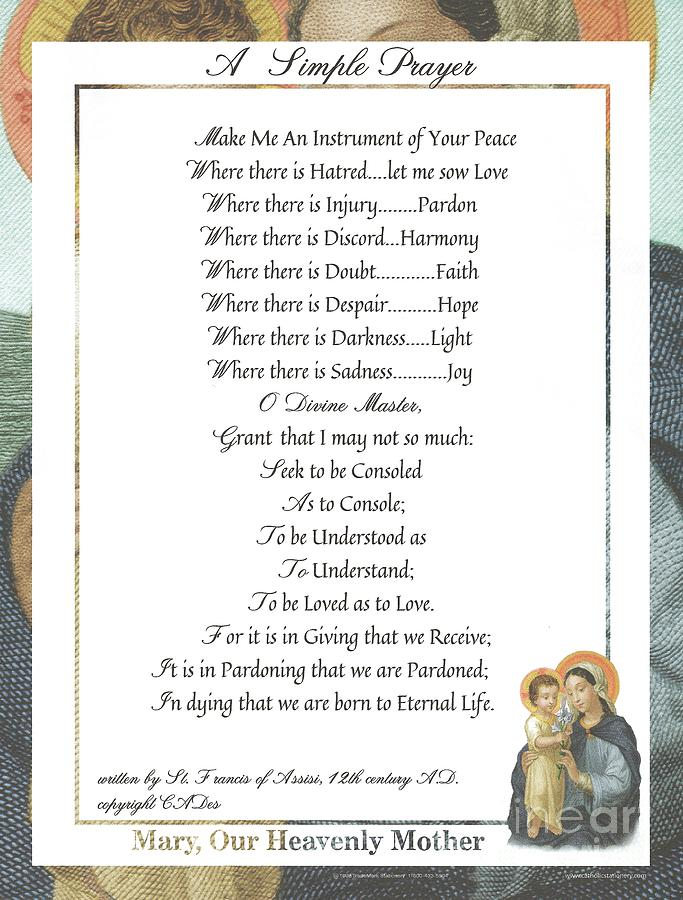 St. Francis Mixed Media - Pope Francis St. Francis Simple Prayer Mary by Desiderata Gallery