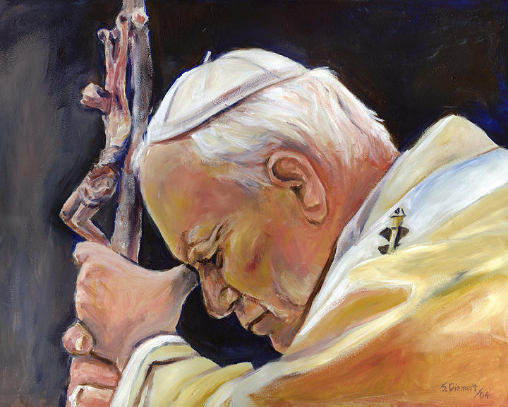 Pope Painting - Pope John Paul II by Sheila Diemert
