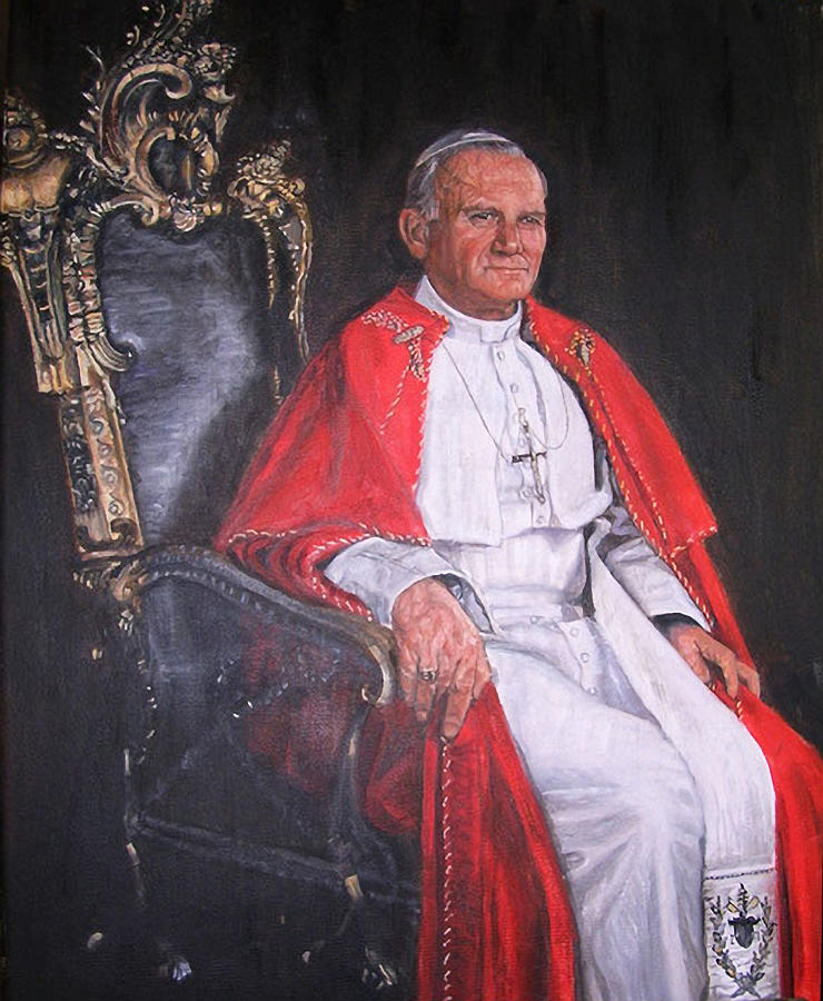Pope John Paul II Painting by Terry Sita