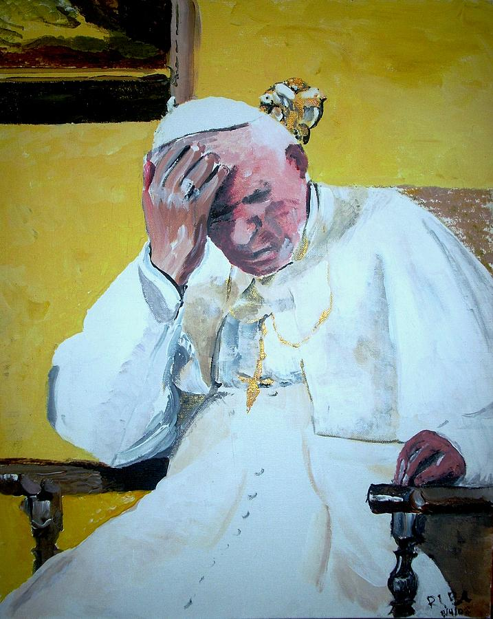 Pope Painting - Pope Praying by Ruben Barbosa