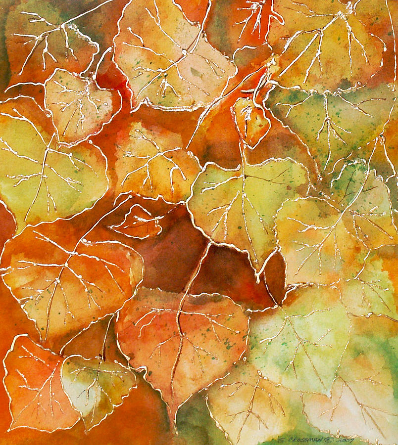 Susan Painting - Poplar Leaves by Susan Crossman Buscho