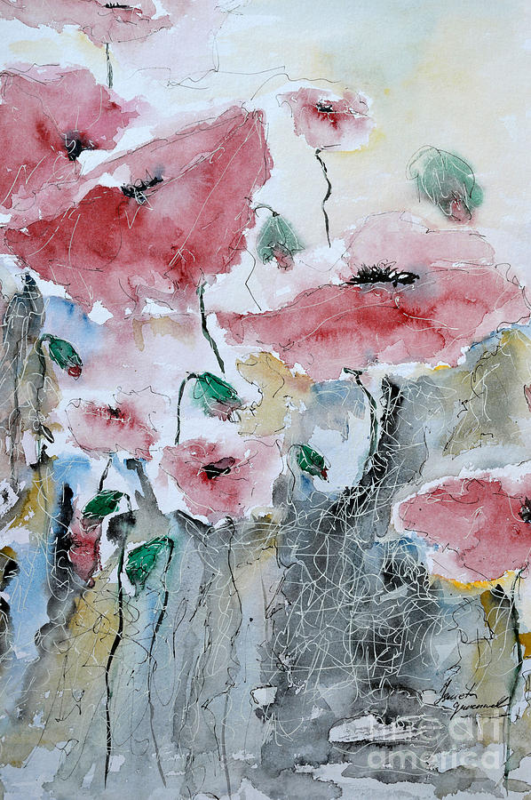 Poppies Painting - Poppies 01 by Ismeta Gruenwald