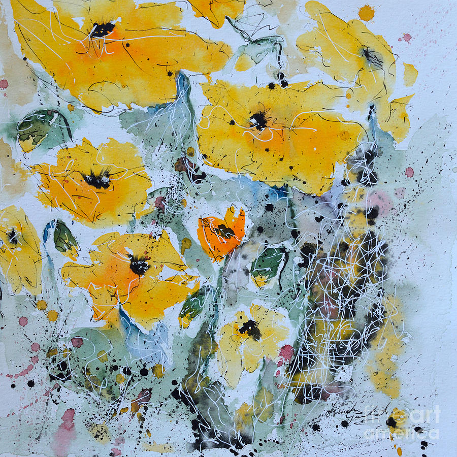 Poppies Painting - Poppies 02 by Ismeta Gruenwald