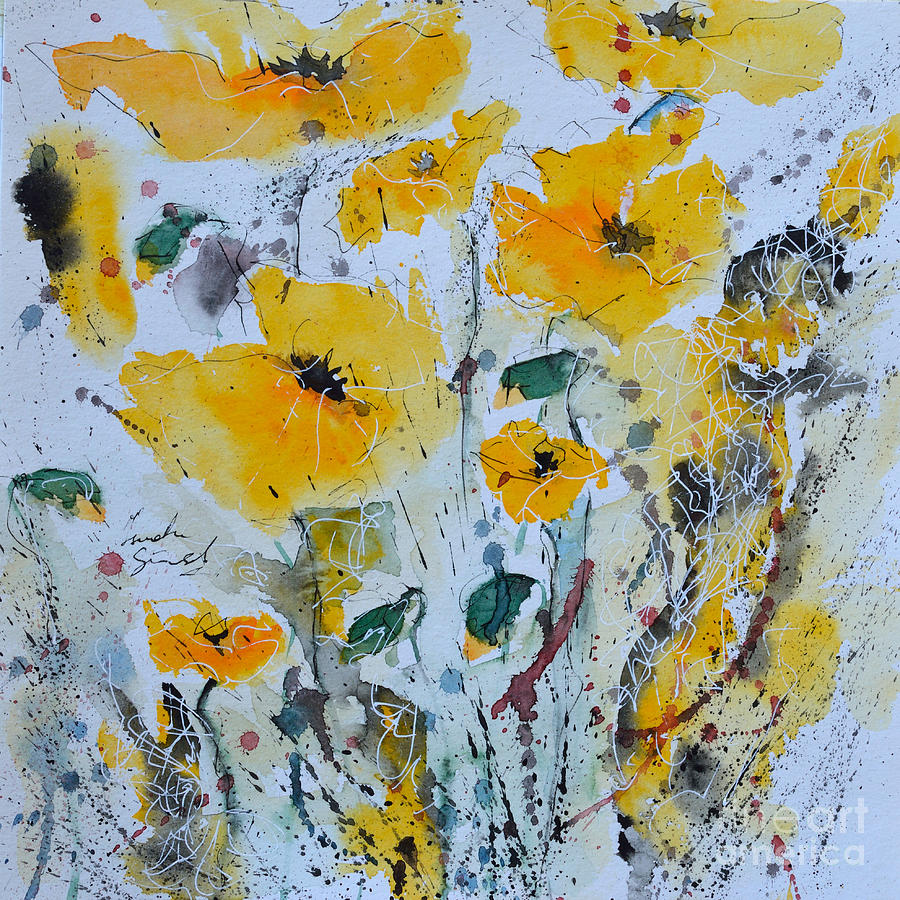 Poppies Painting - Poppies 03 by Ismeta Gruenwald