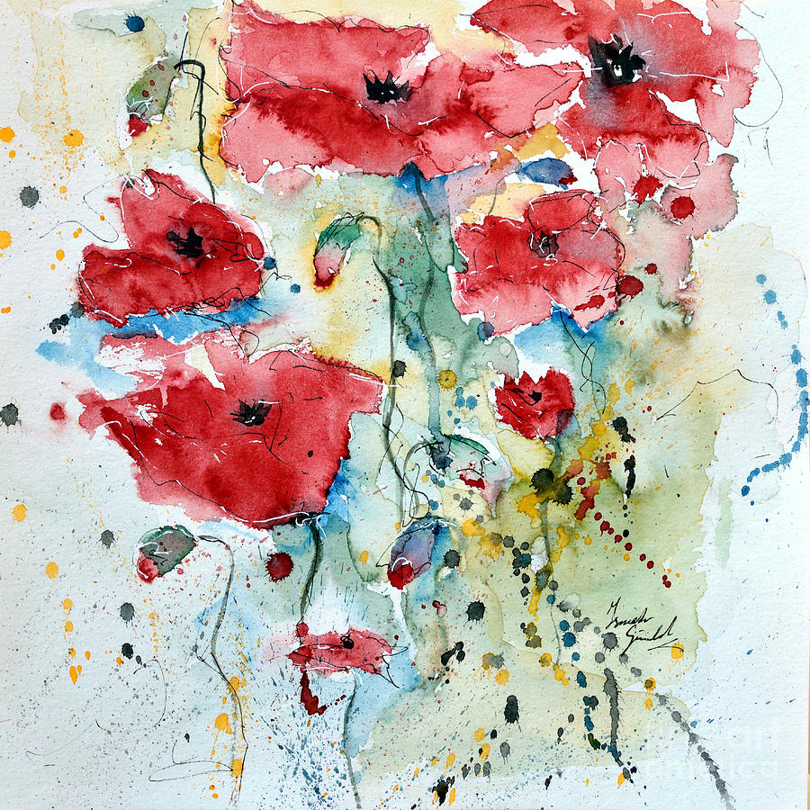 Poppies Painting - Poppies 04 by Ismeta Gruenwald