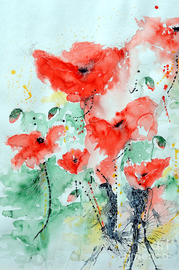 Poppies Painting - Poppies 06 by Ismeta Gruenwald
