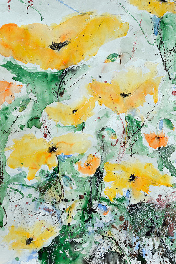 Poppies Painting - Poppies 07 by Ismeta Gruenwald