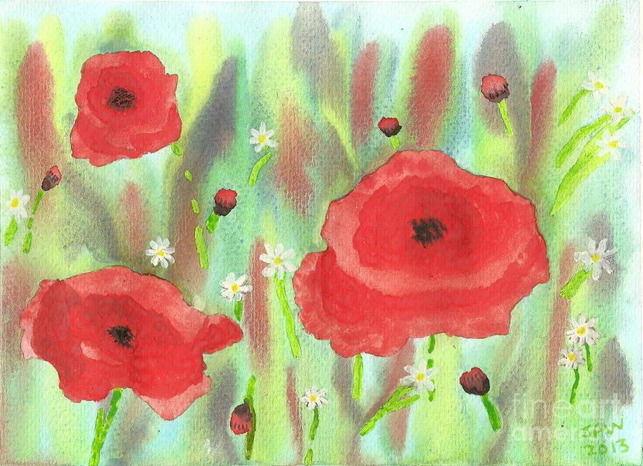 Poppies And Daisies Painting - Poppies And Daisies by John Williams