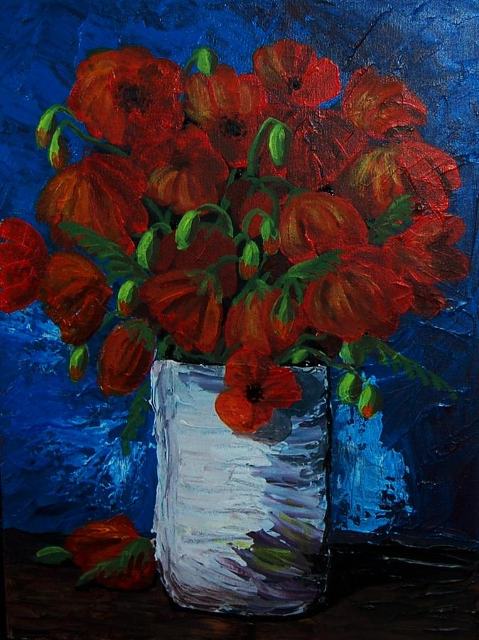 Poppies Painting - Poppies by Anne Parker
