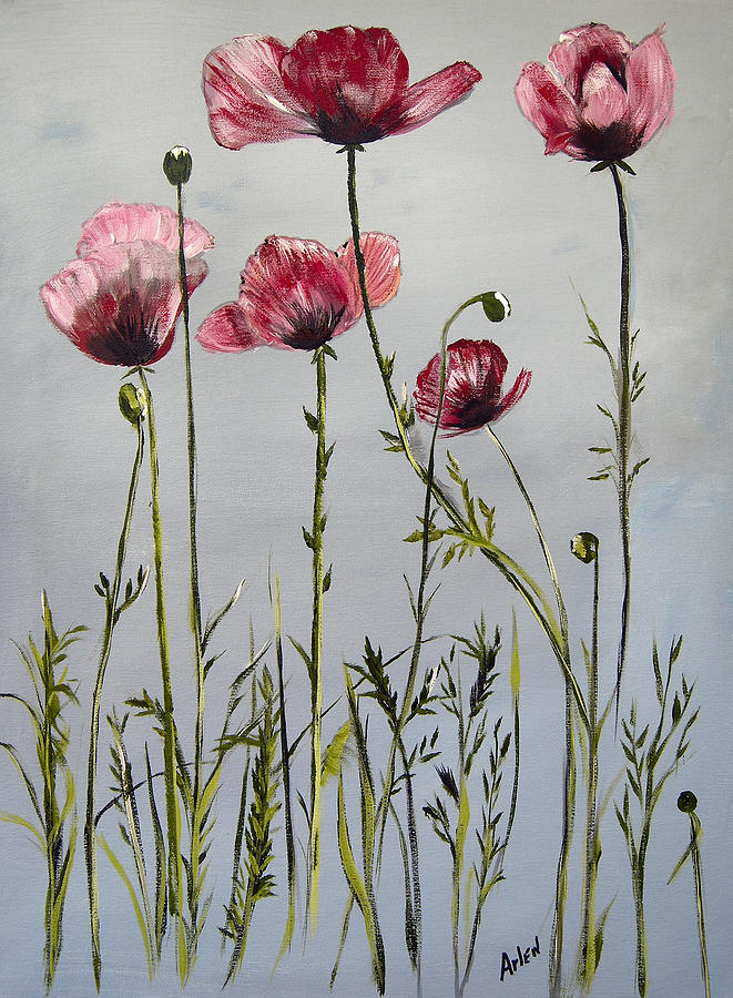 Tall Flowers Painting - Poppies by Arlen Avernian Thorensen