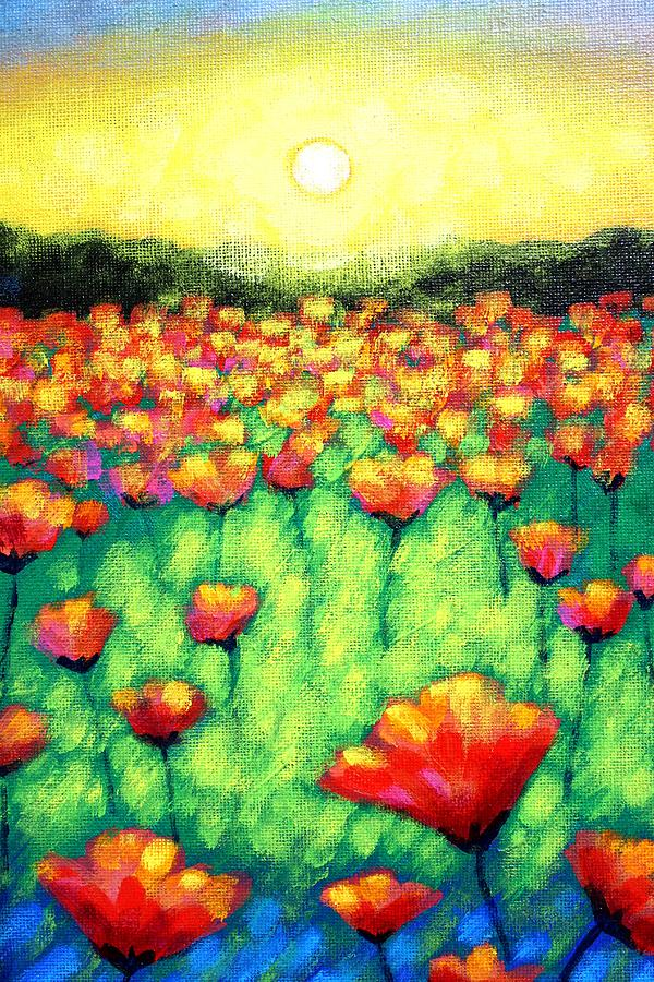 Acrylic Painting - Poppies At Twilight    Cropped Version by John  Nolan
