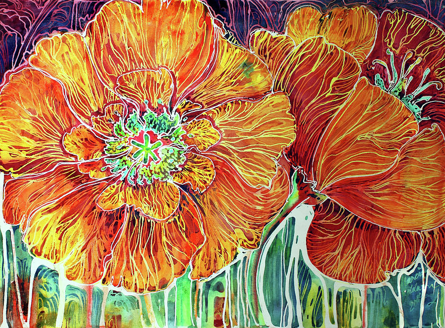 Floral Painting - Poppies Batik Abstract by Marcia Baldwin