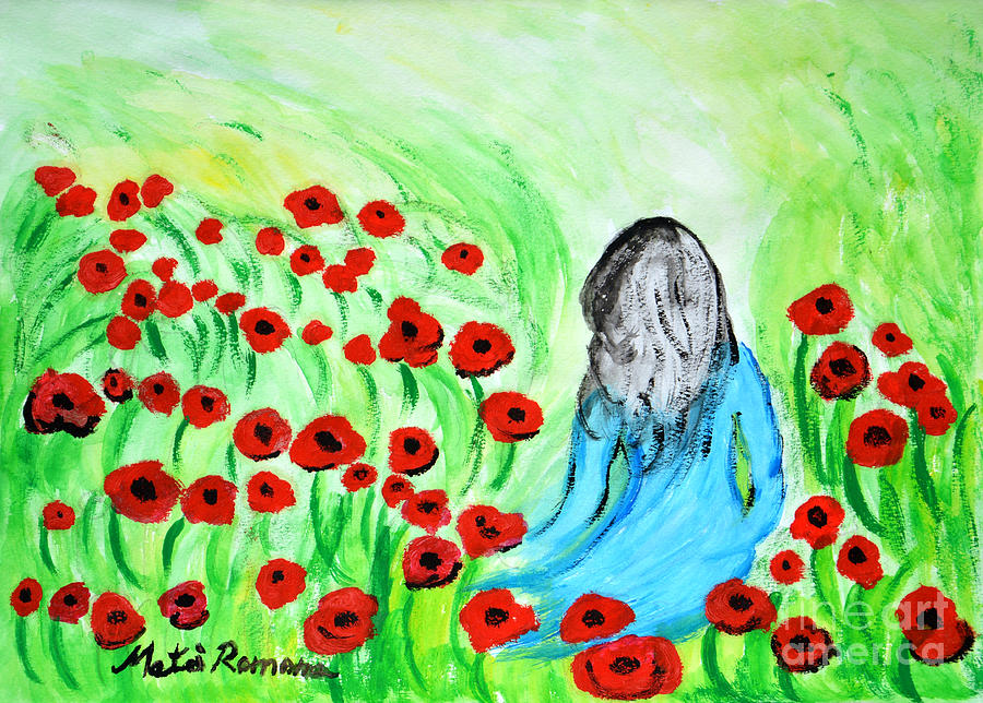Poppies Painting - Poppies Field Illusion by Ramona Matei