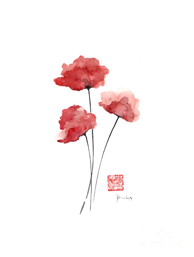 Poppies flowers orange red poppy flower watercolor painting ink poppies painting poppies flowers orange red poppy flower watercolor painting ink by johana szmerdt mightylinksfo
