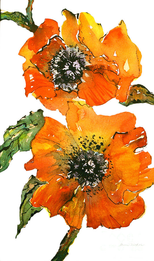 Watercolor Painting - Poppies by Gwen Nichols