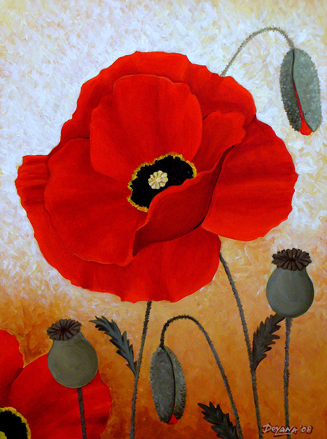 Poppies Painting - Poppies I by Deyana Deco