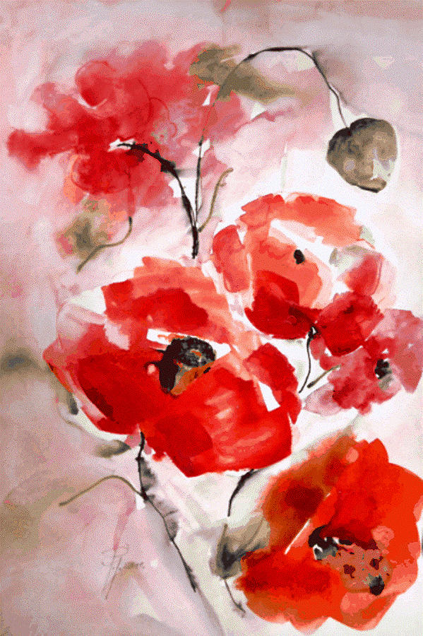 Poppies Painting - Poppies I by Hedwig Pen