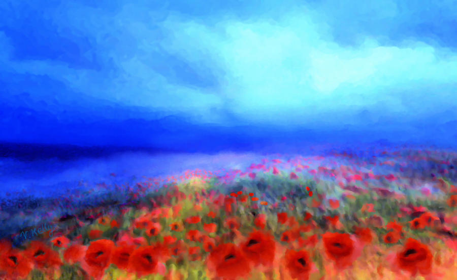 Landscape Mixed Media - Poppies In The Mist by Valerie Anne Kelly