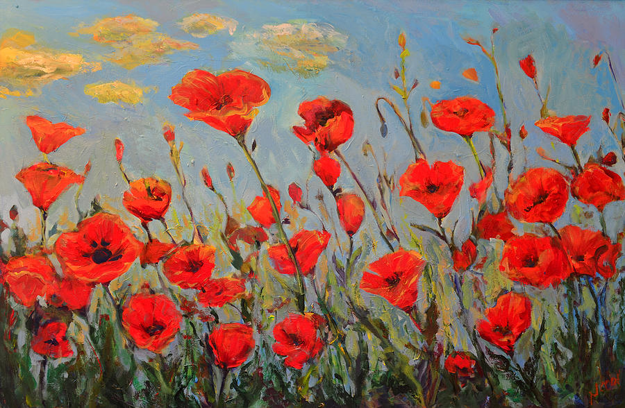 Poppies Painting - Poppies In The Wind by Nanci Cook