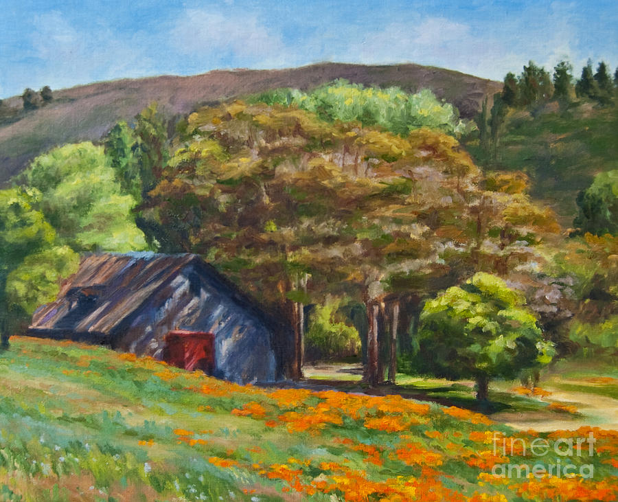 Poppies Painting - Poppies Near The Barn by Laura Sapko