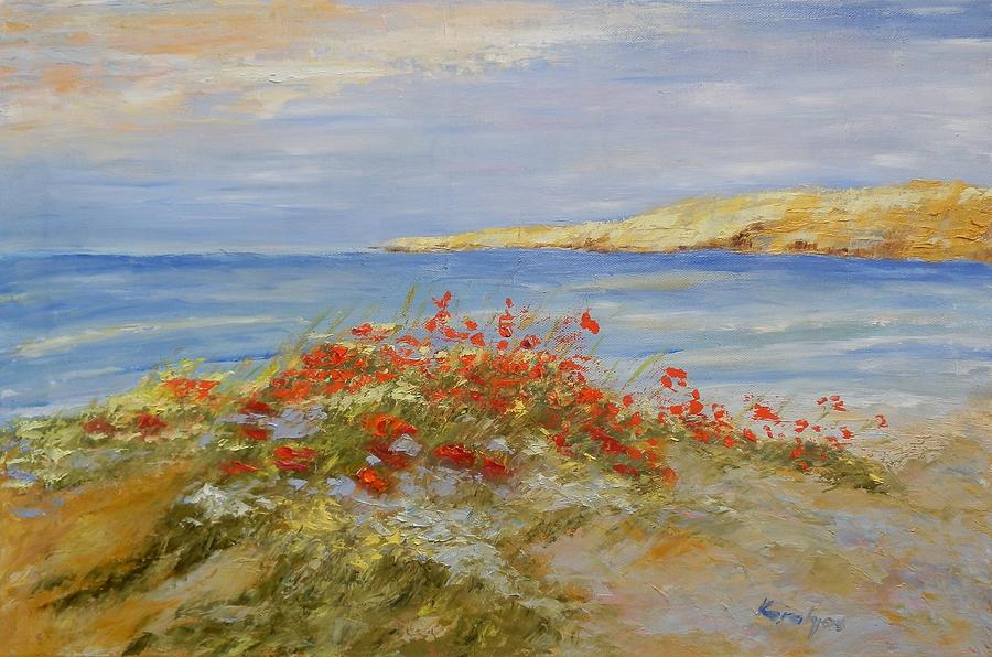 Poppies Painting - Poppies On The Beach by Maria Karalyos