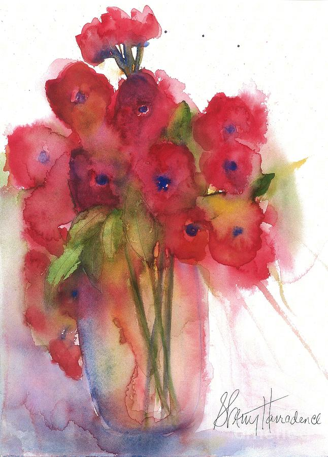 Red Poppies Painting - Poppies by Sherry Harradence