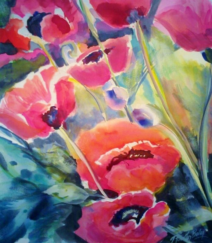 Poppies Painting - Poppies That Dance Original  by Therese Fowler-Bailey