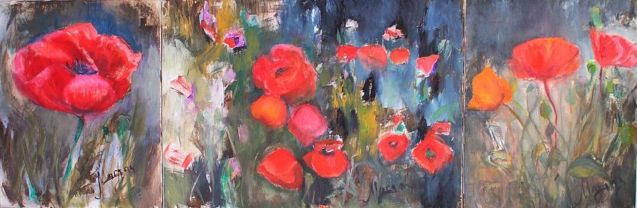 Popies Painting - Poppies. Triptych by Cornelia Margan