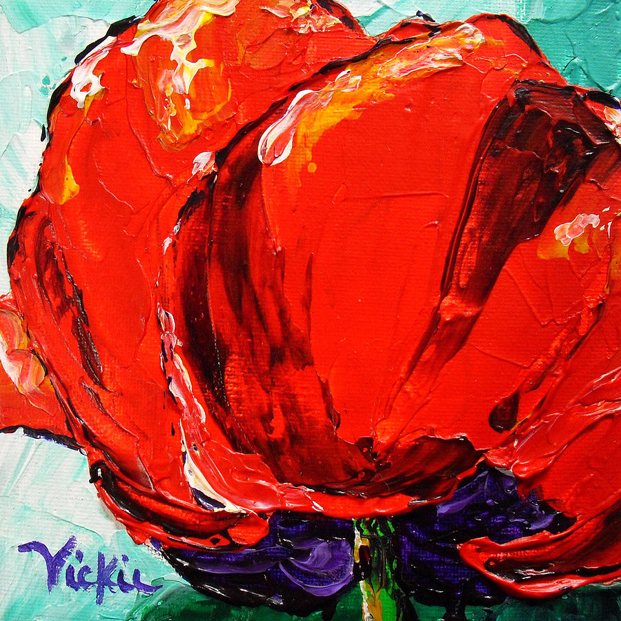 Red Painting - Poppy 3 by Vickie Warner